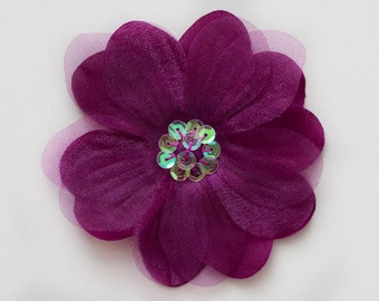 Wine Silk and Organza Flower Embellishment for Baby Headbands - Valerie Collection