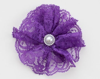Purple Lace with Pearl Center Flower Embellishment for Baby Headband - Candace  Collection