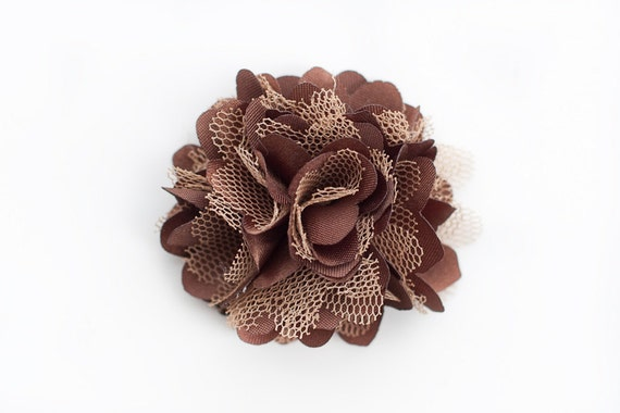 Chocolate Silk and Mesh  Flower Embellishment  for Baby Headbands - Kylie Collection