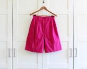 Vintage Shorts, Hot Pink High Waisted Shorts, Bright Colorful Highwaisted Womens Shorts, size Medium Large