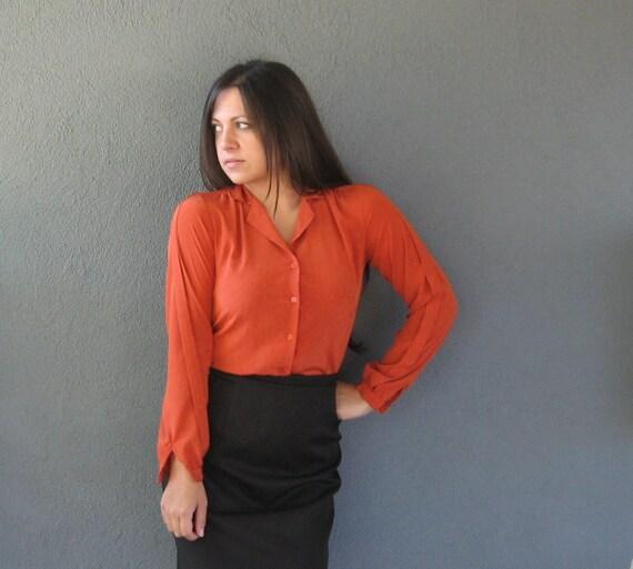 70s Pumpkin Secretary blouse