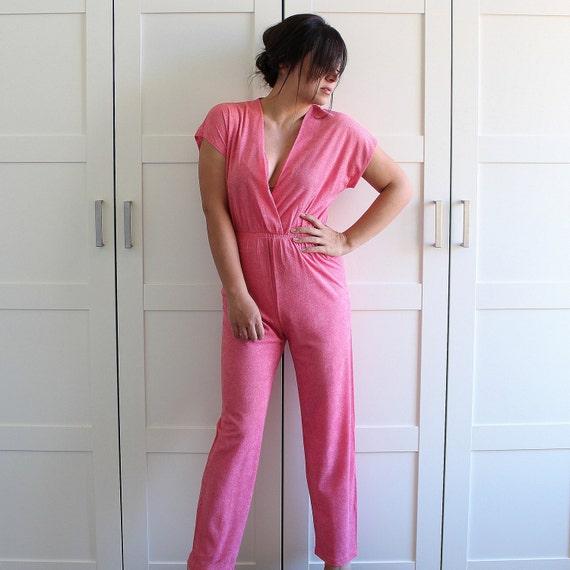Vintage Jump Suit, Colorful Spring Fashion Onesie Romper 70s 80s Terrycloth  Jumpsuit, size Medium
