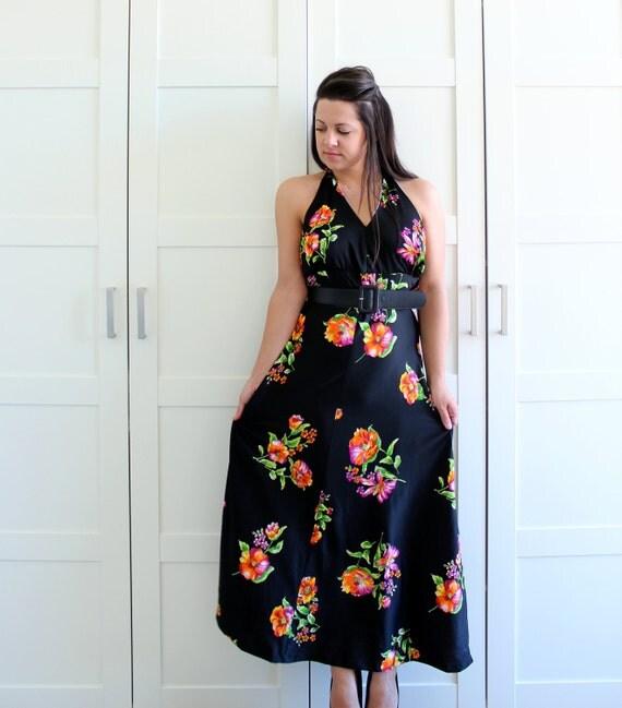 SALE - Vintage 70s Halter Dress, Black Floral Maxi Long Dress, Backless Polyester Disco Dress, size Medium