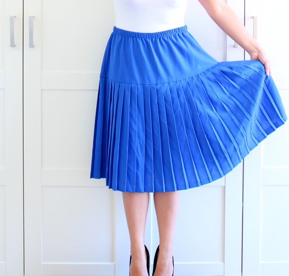 vintage pleated skirt plus size tone royal blue