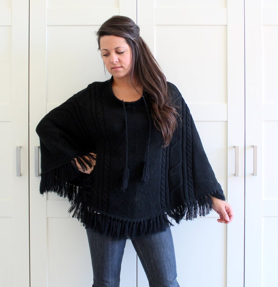 Vintage Black Fringe Poncho Sweater Knit, Womens Boho Blanket Poncho, One Size Fits Most