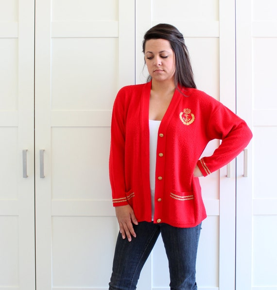 SALE - Vintage Red Cardigan Sweater with Gold Trim and Emblem with Front Pockets, Nautical Preppy Cardigan Button Up Sweater, size Large