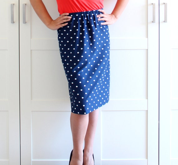 Vintage Polka Dot Skirt, Navy Blue Swiss Dot Polkadot Retro A Line Midi Skirt, size Large XL