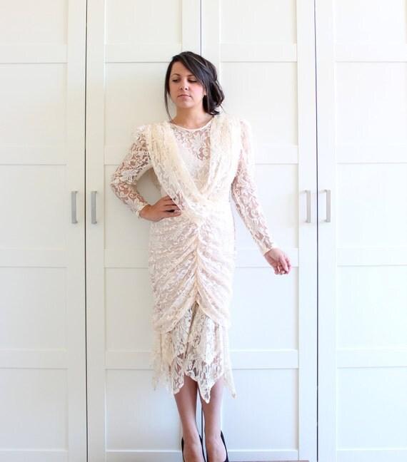 Vintage Lace Dress, Cream Long Sleeve Dress, Gathered Sheer Lace Illusion Dress, Wedding Bridal Goddess Dress, size Medium