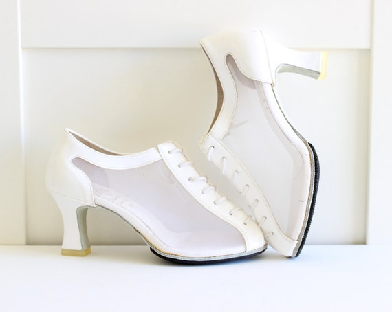 White Mesh Heels Lace Up Front Peep Toe, Vintage Womens Shoes Ballroom Dance Shoes, size 6 size 7