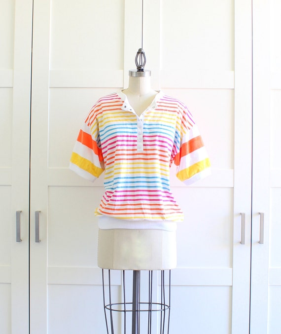 SALE - Rainbow Bright Rainbow Stripe Top, Oversized Shirt, The 80s Clothing, size Large XL