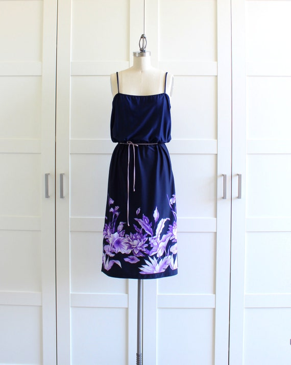 Vintage Dress, 1970s Summer Dress Tropical Floral Print Spaghetti Strap Dress, size Medium