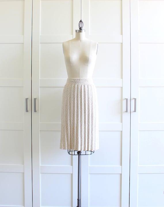 Accordion Pleated Skirt, Oatmeal Office Fashion Box Pleat Skirt, Boucle Knit Skirt, size Large