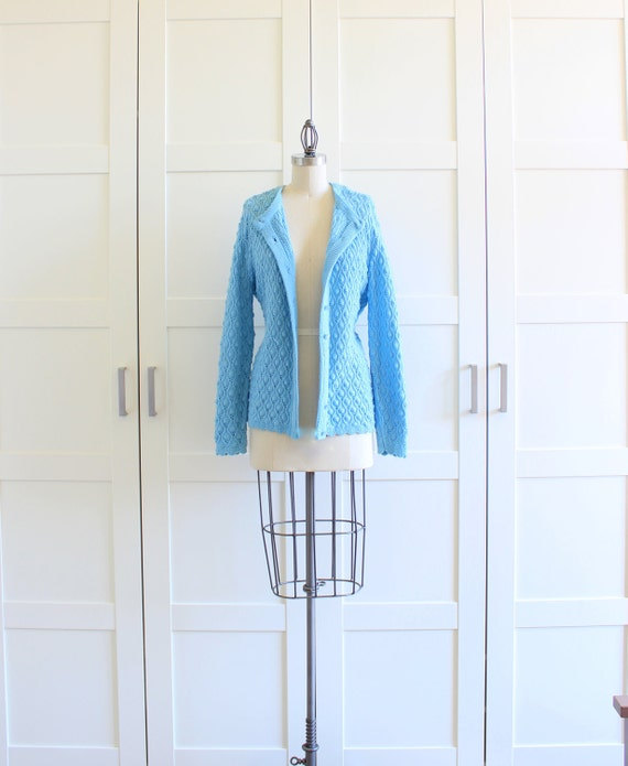 SALE - Vintage Cardigan Sweater, Granny Chic Baby Blue Granny Sweater Chunky Knit Sweater, size Large
