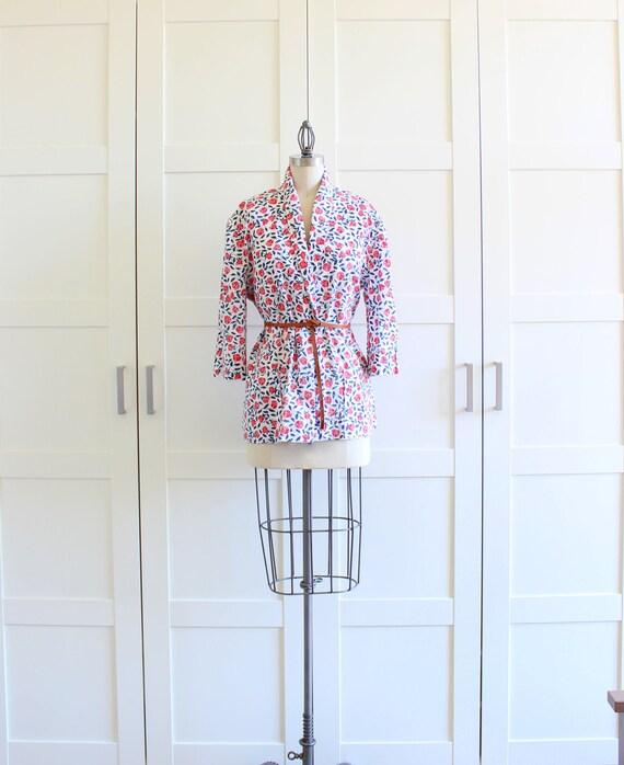 Vintage Boyfriend Blazer, Floral Print Preppy Blazer Oversized Jacket, Red Rose Womens Blazer, size Large XL