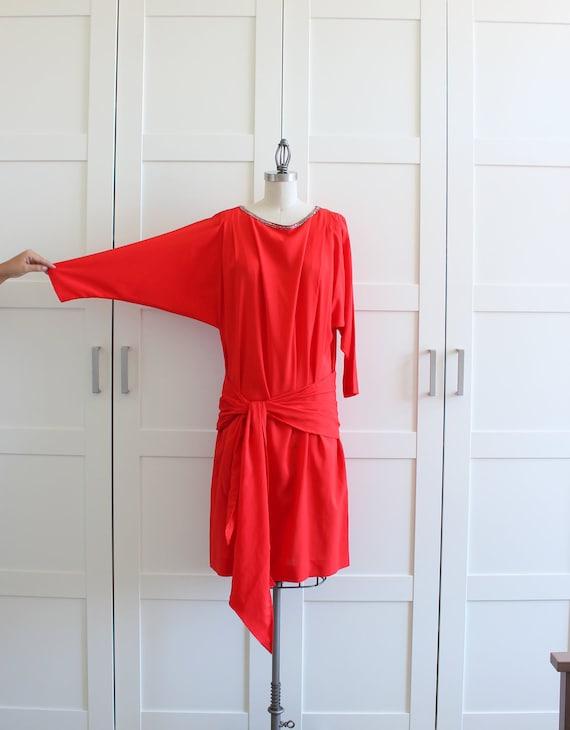 Red Drop Waist Dress, Beaded Flapper Dress, Dolman Sleeve Cocktail Dress, size Large XL
