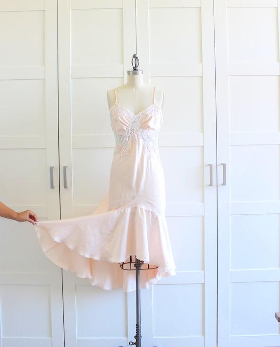 Pink mermaid slip night gown wedding bridal by myvintagecrush for White silk slip wedding dress