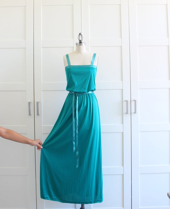 Vintage Maxi Dress, 1970s Formal Dress, 70s Prom Dress Bridesmaid Dress Two Piece Emerald Green Dress, size Medium