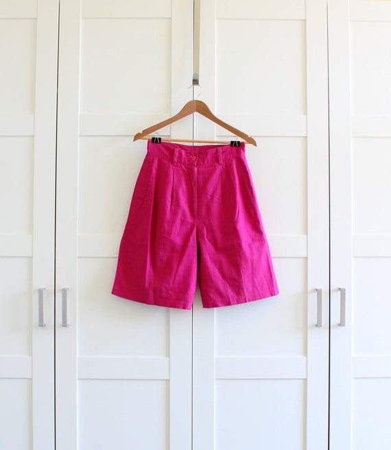 Vintage Shorts, Hot Pink High Waisted Shorts, Bright Colorful Highwaisted Womens Shorts, size Medium Large