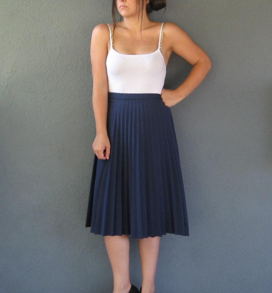 vintage midi skirt navy accordian pleated skirt circle