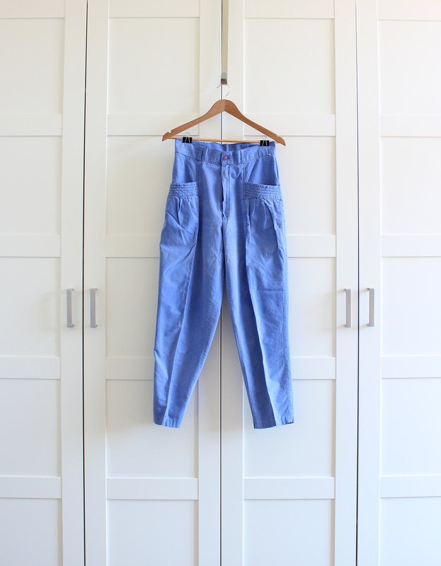 1980s parachute pants 80s blue cotton tapered by myvintagecrush