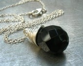 Black Onyx Wire Wrapped Sterling Silver Necklace
