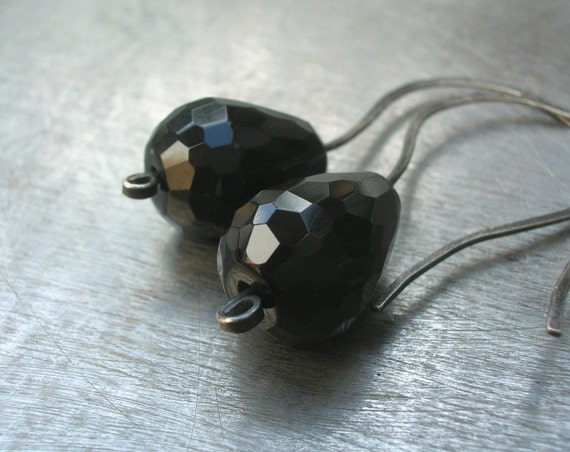 Black Onyx Oxidized Sterling Silver Earrings