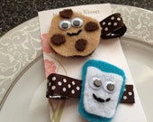 Toddler Hair Clips - Milk and Cookies - Baby Hair Clips - Set of 2 - Infant Hair Bows - Girl Hair Clips