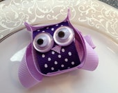 Purple Owl Hair Bow Clip - Toddler Hair Clip - Baby Hair Bow - Ribbon Sculpture - Infant Hair Clip -  Hair bow -Purple