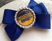 University of Michigan Hair Bow-  U of M - Bottle Cap Bow - Toddler Hair Clip