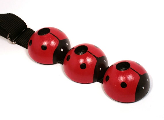 Ladybug - Big Kids Pinstoppa Cello Spike Endpin Rest  - 6 to 12 years - black strap - READY TO SHIP