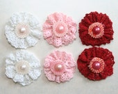 Fabric Flowers Set of 6 Red Pink and White 1.25 inch Lace Fabric Flowers with Pearl center  Valentines Day Headbands Hair Pins Family Photos