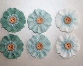 Blue Spruce Fabric Flowers Set of  6 with Wood Button Wholesale Fabric Flower Supplies