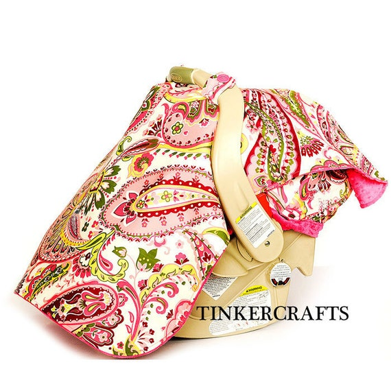 car seat cover set girls pink paisley with pink minky last one. Black Bedroom Furniture Sets. Home Design Ideas