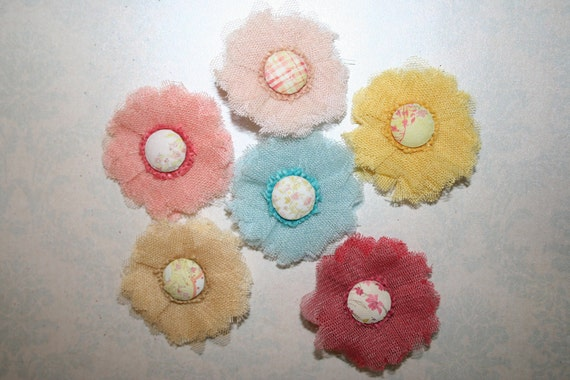 Fabric Flowers Set of 6 SPARKLE Mesh -Yellow Baby Blue Beige Salmon Pink Dark Pink- Perfect for Headbands Hair Clip Shoe Clips Jewelry