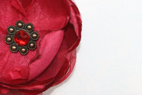 Silk Fleur de Lys Red FABRIC FLOWER 7 layers 2.75 inches Perfect for shoe clips brooch headbands scrapbooking photo prop