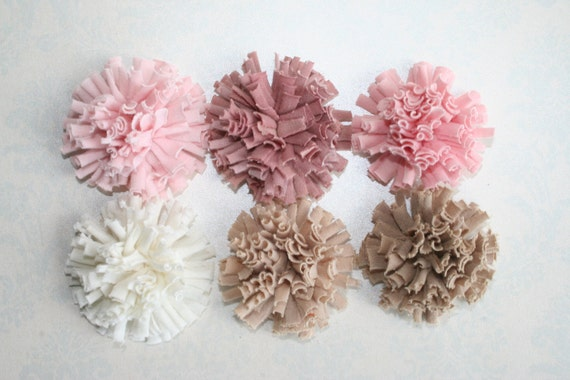 Pom Pom Fabric Flowers Set of 6 Fluffy FABRIC FLOWERS Off White Light Pink Pink Mauve Tan Light Tan