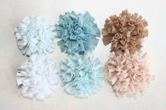 Pom Pom FABRIC FLOWERS Set of 6 Fluffy Cotton Teal Light Teal Light Blue Tan Light Tan Perfect for Shoe Clips Hair Pins Brooches Photo props