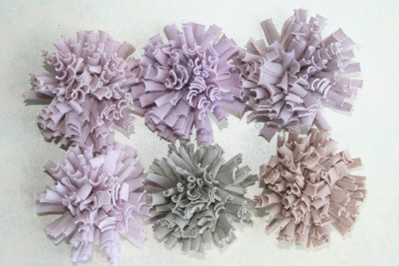 Set of 6 Fluffy Cotton Pom Pom FABRIC FLOWERS Shades of Purple Perfect for Shoe Clips Hair Pins Brooches Photo props