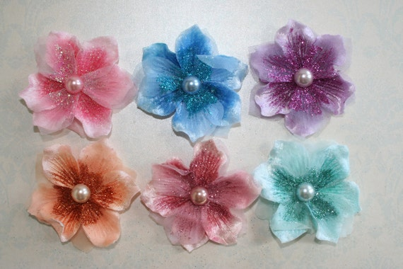 Velvet and Tulle FABRIC FLOWERS Sparkle Glitter 6 colors Headbands Brooch Shoe Clip Hair Clip Flower Pin