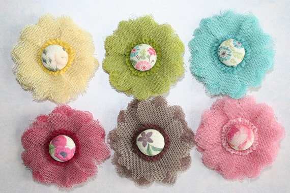 Fabric Flowers Set of 6 BOTANICAL  Mesh -Yellow Sky Blue Brown Bright Pink Kiwi Green Burgundy- Perfect for Headbands Hair Clip Shoe Clips