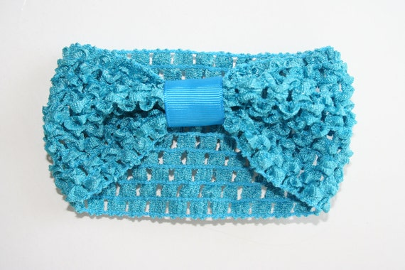 Turquoise Crochet Headband with Attached Loop 2.5 inches Newborn Infant Little Girls Teen Adult Headbands