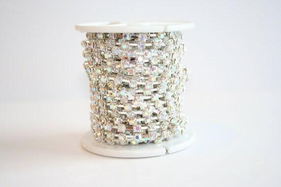 Rhinestone Chain 4mm Silver Plated Crystal AB Clear Glass Rhinestones