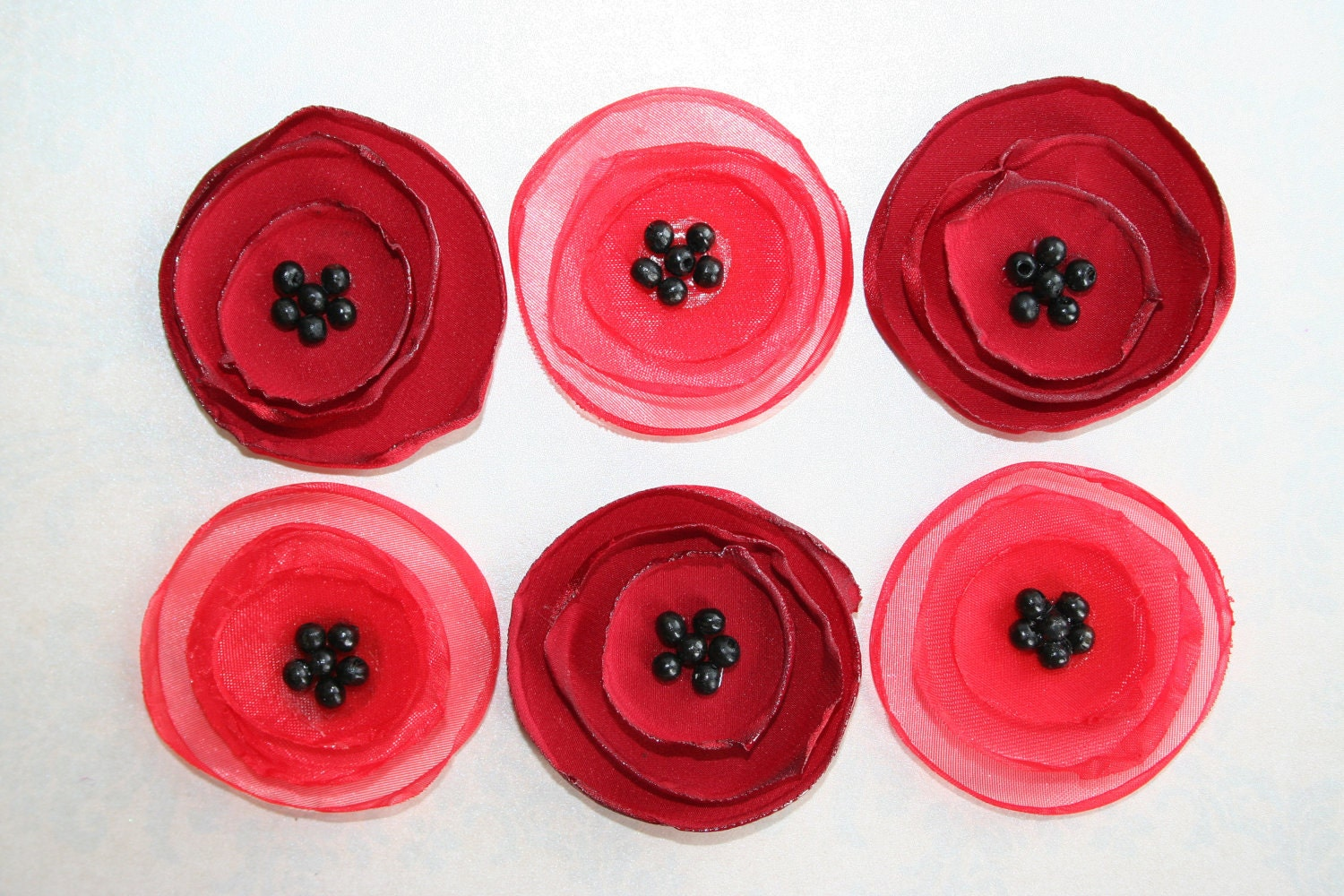 Bright Red And Cherry Red POPPY Fabric Flowers Wholesale