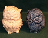 Owl Salt and Pepper Shakers  -  Dark Blue and Parchment