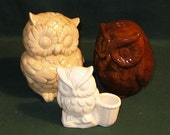 Hootie - Ceramic Owl Salt and Pepper Shakers  -  Beigh and Brown