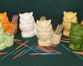 Hootie - Ceramic Owl Tooth Pick Holder - Pick Your Color