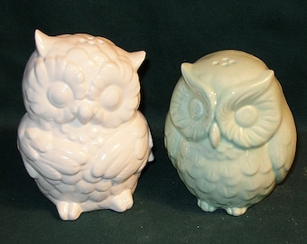 Hootie - Ceramic Owl Salt and Pepper Shakers  -  White and Mint Green