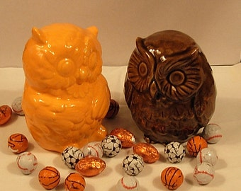 Hootie - Ceramic Owl Figurines   -  Pumpkin Orange and Espresso Brown