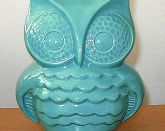 Hootie - Ceramic Owl Coin Bank  -   Aqua