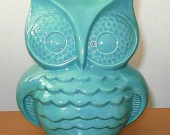 Hootie - Ceramic Owl Coin Bank  -   Aqua